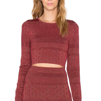 Ronny Kobo Emma Crop Top in Bordeaux