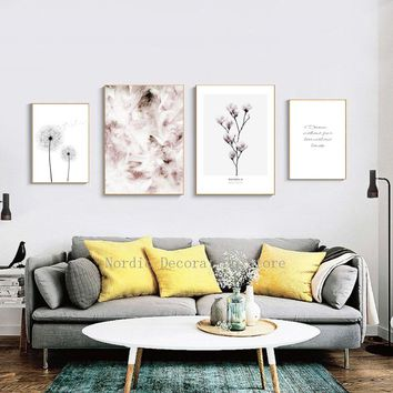 Nordic Poster Feather Pink PostersAnd Prints Feather Black And White Dandelion Wall Art Canvas Painting Canvas Prints Unframed
