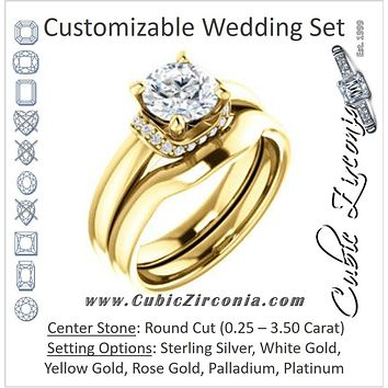 CZ Wedding Set, featuring The Jennifer Elena engagement ring (Customizable Round Cut featuring Saddle-shaped Under Halo)