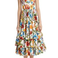 Dolce&Gabbana Tier Hem Poplin Dress | Nordstrom