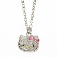 Hello Kitty Sparkle Pendant Necklace - Girls (Silver)