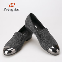 Piergitar 2016 new style dot pattern leather men's shoes with gun metal toe luxurious handcrafted smoking loafers men's flats