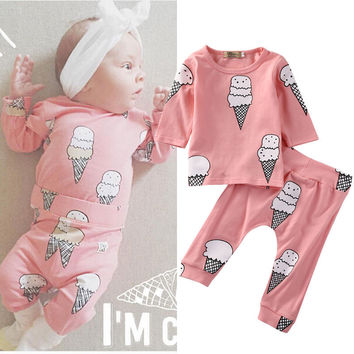 2Pcs Newborn Baby Girls Clothes Ice Cream T-shirt Tops Long Pants Outfit Set Clothing Baby Girl 0-24 M