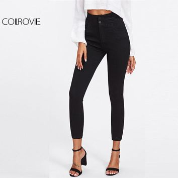 Black High Waist Skinny Denim Jeans Women Zipper Fly Casual Plain Pants Spring Girls Slim Stretch Trousers