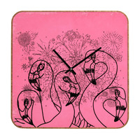 Lisa Argyropoulos Pink Flamingos Custom Clock