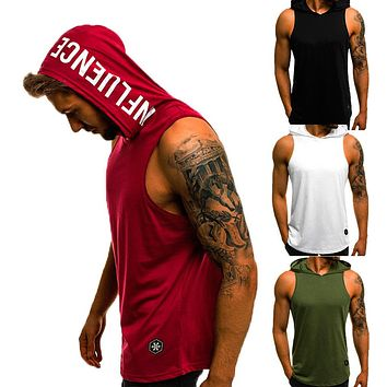 Men's Cotton Sleeveless Hoodie Bodybuilding Workout Tank Tops Muscle Fitness Shirts Male Jackets Top