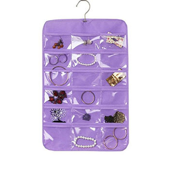 Agooding Purple Dustproof Waterproof Jewelry Storage Hanging Organizer