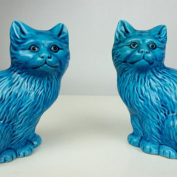 Vintage Pair Blue Glazed Chinese Porcelain Cats, Collectible Cats, Cat Figurine, Blue Turquoise Cats, Chinese Porcelain, Vintage Home Decor