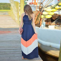 O-Neck Sleeveless Patchwork Beach Long Dress = 5657565761