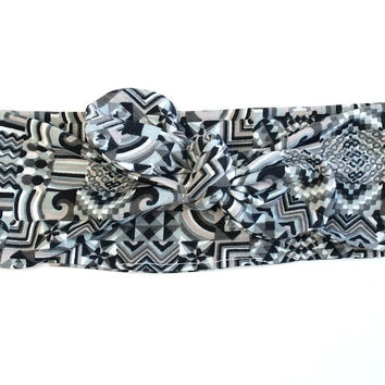 Tribal Tie Up Headband Head scarf, Womens Headband Top Knot Hair Accessory, Knotted Headwrap Headband, Dolly Bow Headband
