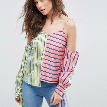 ASOS Cold Shoulder Top in Mix and Match Stripe at asos.com
