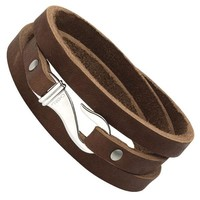 Men's Stainless Steel and Brown Leather Wrap Bracelet
