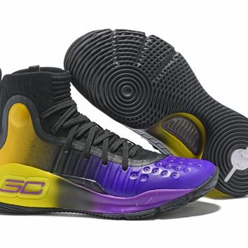 Under Armour UA Curry 4 Black/Purple/Yellow Basketball Shoes