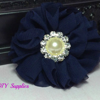 Navy chiffon flower with pearl rhinestone center - fabric flowers - wholesale flowers - hair bow supplies - diy headband flower