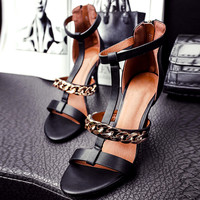Fashion 2016 summer leather sandals sexy high-heeled shoes female thin heels zipper metal chain open toe t strap shoes