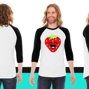 Strawberry Face American Apparel Unisex 3/4 Sleeve T-Shirt