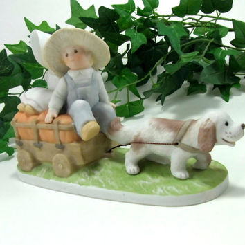 "Circle of Friends Fall's Bounty by Masterpiece Homco 1993 Figurine ""The Lord has done great things for us"" Psalms 126:3"