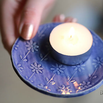 Blue Flower Ceramic Plate,  Ring Dish, Wedding Favor, Candle Holder