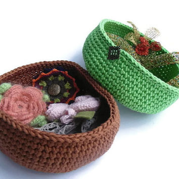 Crochet baskets. Organizer containers. Nesting bowls. Green. Brown.Storage Basket Organizer for jewellry. Eco-Friendly
