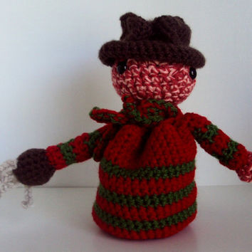 Crocheted Freddy Krueger Inspired Pouch - Coin Purse, Dice Bag, Amigurumi