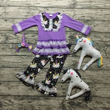 New baby girls Fall/winter cotton kids wear boutique ruffles unicorn lace lavender children clothing match only hair hoop pant