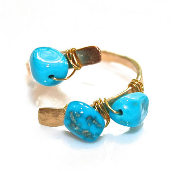 Sleeping Beauty Turquoise Ring Modern Ring Three Stone Ring Turquoise Nugget Ring Gold Ring Adjustable Ring Turquoise Jewelry Delicate Ring