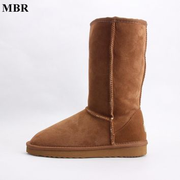 MBR suede high UG snow boots for women winter shoes sheepskin leather fur lined big girls tall wool thigh winter boots black