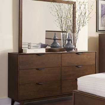 Mid-Mod Transitional Drawer Dresser And Mirror Cinnamon