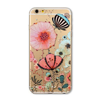 Flowers and butterflies phone case for iphone 5 5s SE 6 6s 6 plus 6s plus + Nice gift box 072701