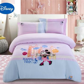 Shanghai Minnie Mouse Bedding Set Girl's Baby Duvet Covers Disney Cartoon Cotton Applique Embroidery Single Twin Queen Blue Pink