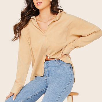 Button Front Oversized Corduroy Long Sleeve Shirt