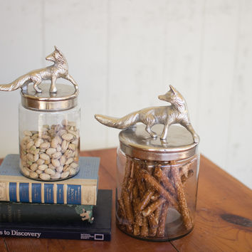 Set of 2 Glass Canisters with Aluminum Fox Tops