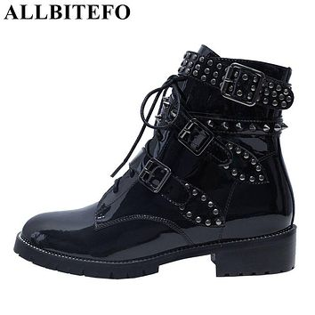 ALLBITEFO large size:33-43 Patent leather low-heeled women boots fashion brand rivets buckle martin boots ankle boots woman
