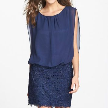Women's Aidan by Aidan Mattox Chiffon & Lace Blouson Dress ,