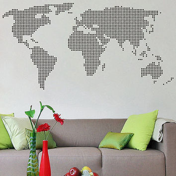kik2874 Wall Decal Sticker world map abstract living room bedroom office