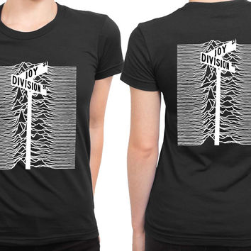 Joy Division Street Black And White 2 Sided Womens T Shirt