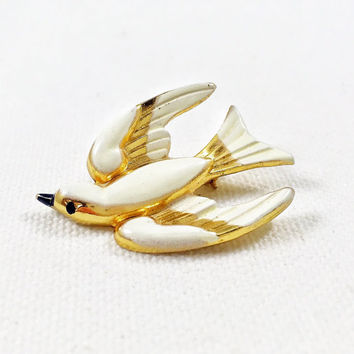 Coro white bird pin brooch, gold and white enamel swallow pin, vintage Coro white dove, 1950s vintage Coro Pegasus brooch