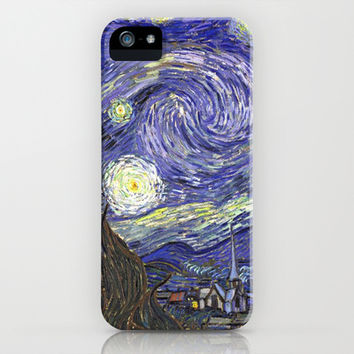 Starry Night, by Vincent van Gogh.  famous impressionism fine art landscape oil painting. iPhone & iPod Case by NatureMatters