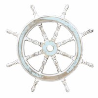 Wood Ship Wheel Wall decor In White And Blue