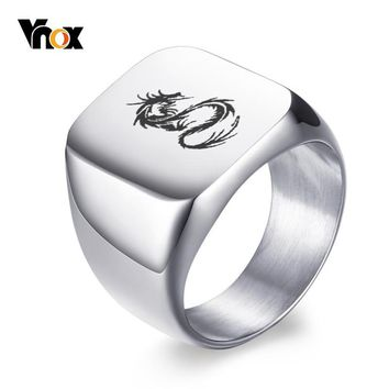 Vnox Rock Men's Dragon Ring Solid Silver Color Biker Rings for Man High Polished Stainless Steel Male Signet anel Jewelry