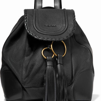 See by Chloé - Polly tasseled whipstitched textured-leather backpack