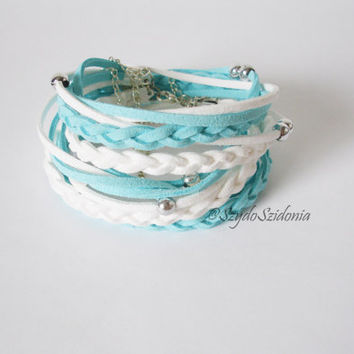 AQUA Suede Cord Wrap Bracelet,With Silver Accents,Handmade Jewelry - Gift for her - braidsmaid gift