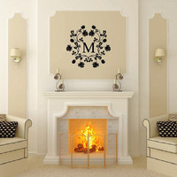 Custom Wall Decal Monogram Damask Frame Style B Vinyl Wall Decal 22509