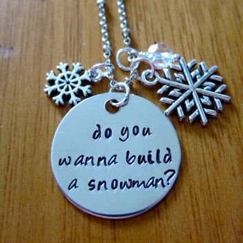 "Disney's ""Frozen"" Inspired, Elsa ""Do you wanna build a snowman?"", Charm Pendant. Silver colored, snowflake, for women or girls."