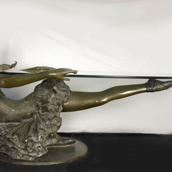 Canonbury - Bronze Ballet Girl Coffee Table Glass Top Statue Ballerina