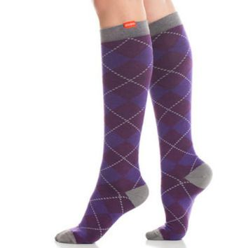 Purple Argyle Compression Socks for Women