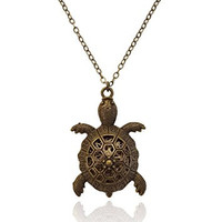 Turtle Charm Bronze-Tone Brass-Tone Aromatherapy Necklace Essential Oil Diffuser Locket Pendant Jewelry Diffuser Cover w/reusable felt pads!