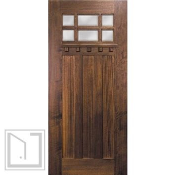 Slab Entry Single Door 80 Mahogany Craftsman 3 Panel 6 Lite TDL Glass