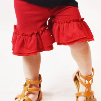 lil' belle toddler ruffled shorts - red