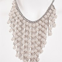 Pink by Ele Feel The Beat Bead And Chain Statement Necklace - Cream